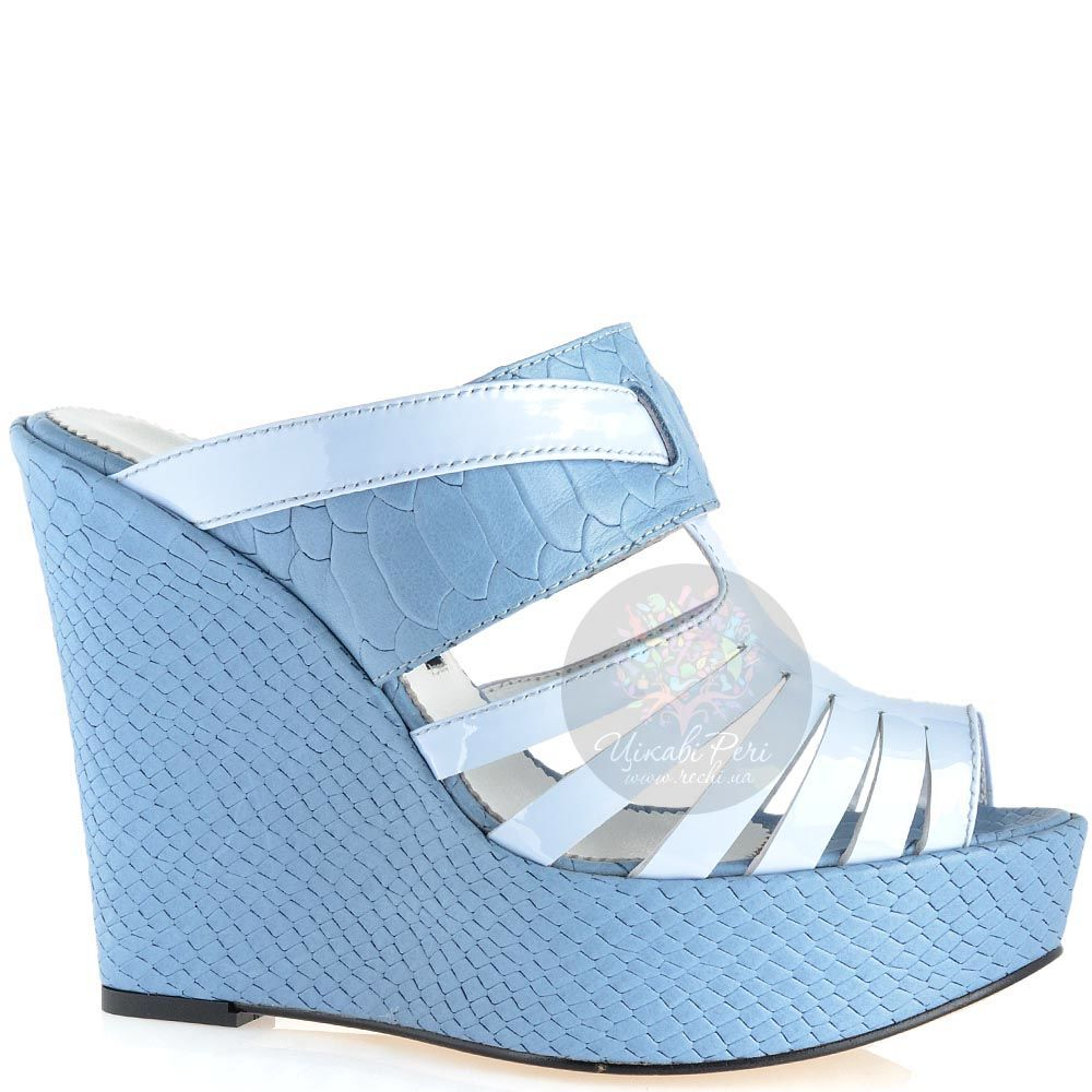 Сабо Modus Vivendi серо-голубого цвета из кожи на платформе