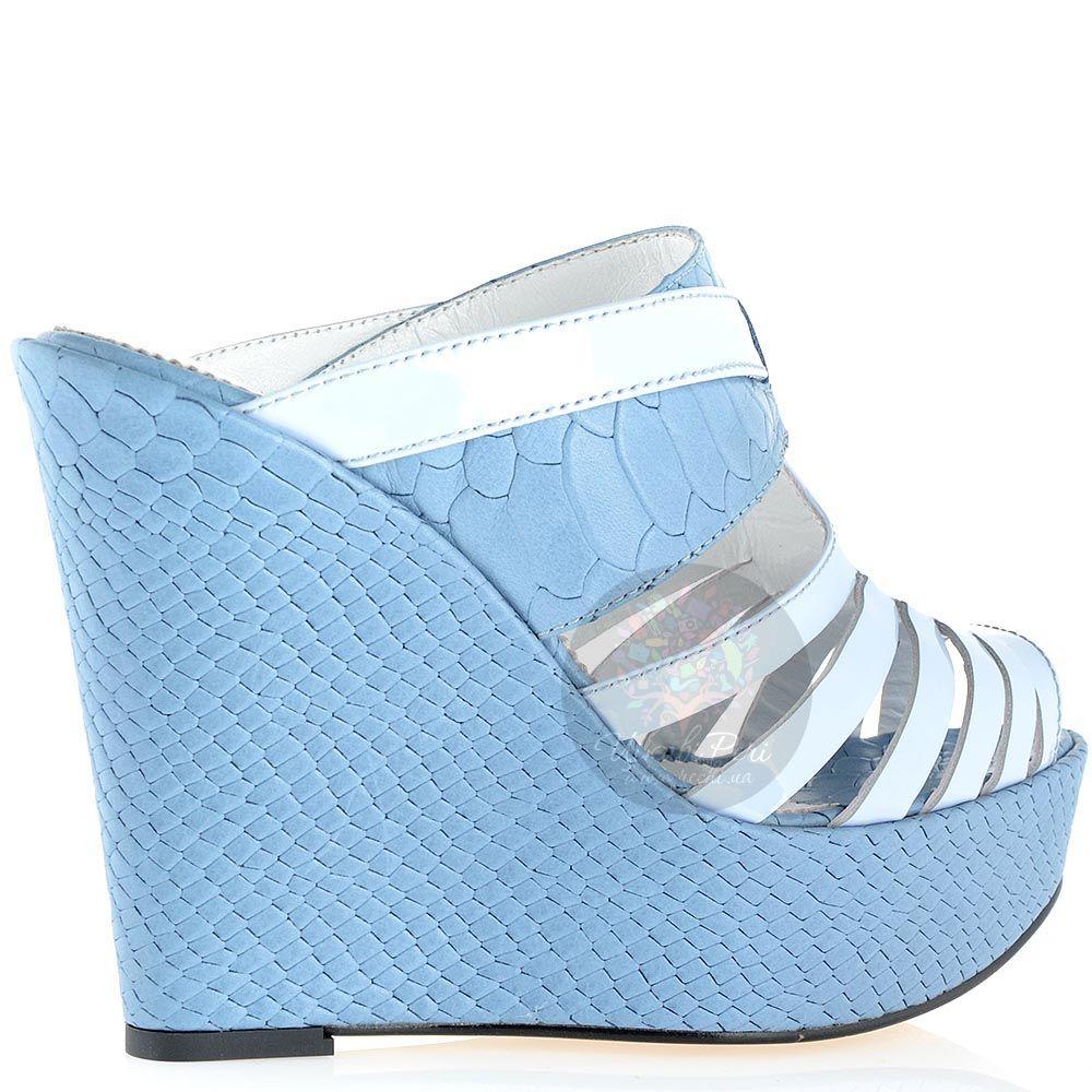 Сабо Modus Vivendi серо-голубого цвета из натуральной кожи на платформе