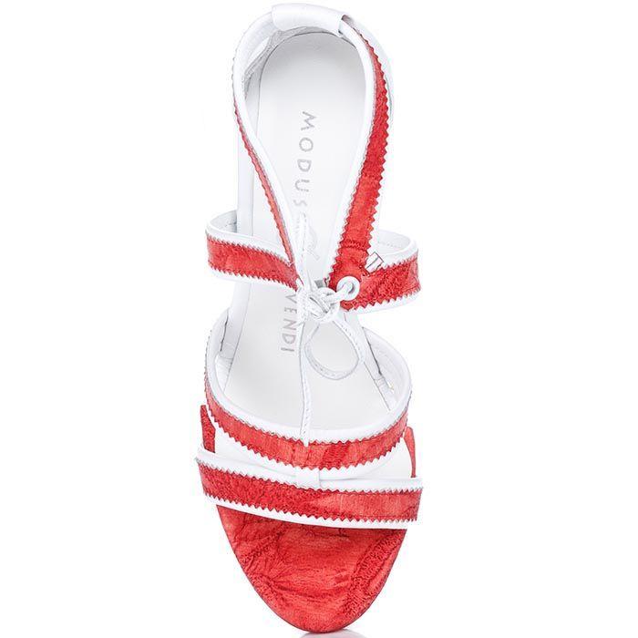 Босоножки Modus Vivendi красно-белые на высокой танкетке