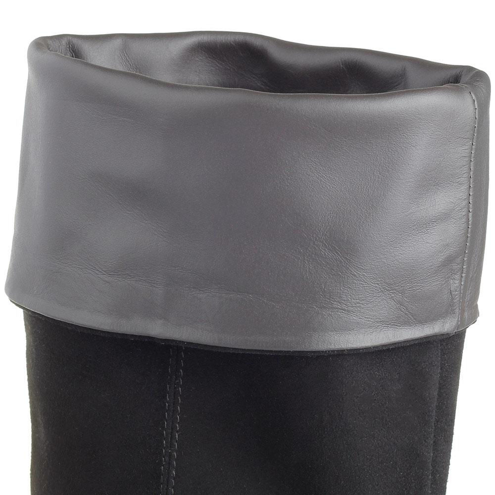Сапоги Via Roma 15 осенние замшевые черного цвета на каблучке