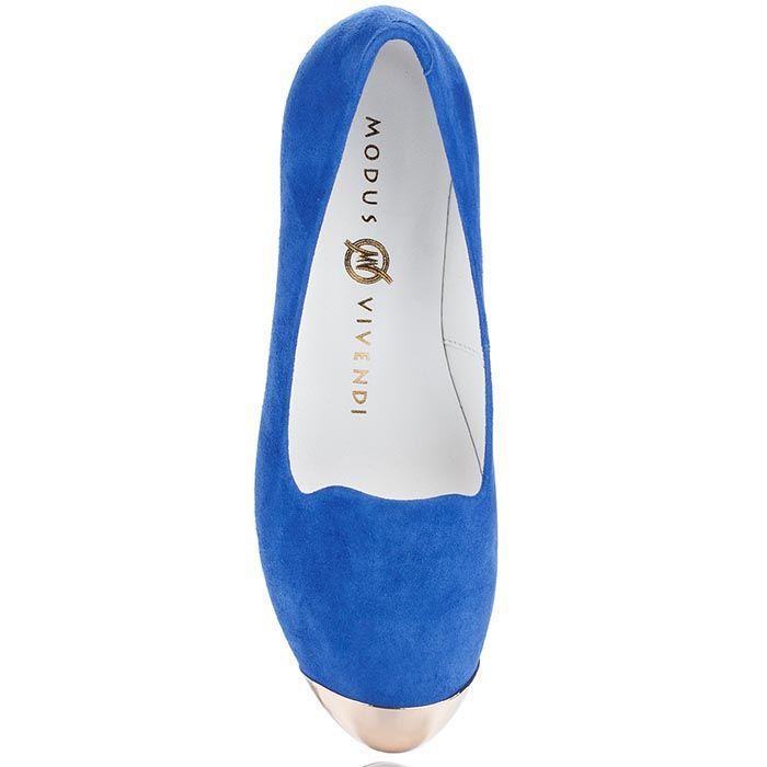 Замшевые лоферы Modus Vivendi синего цвета с металлическим носочком