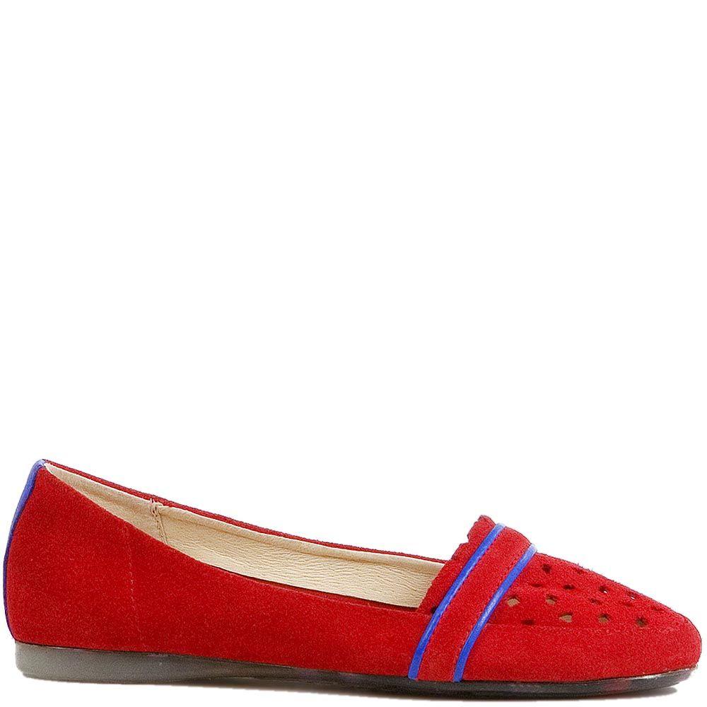 Женские слиперы Modus Vivendi из замши красного цвета с синей отделкой