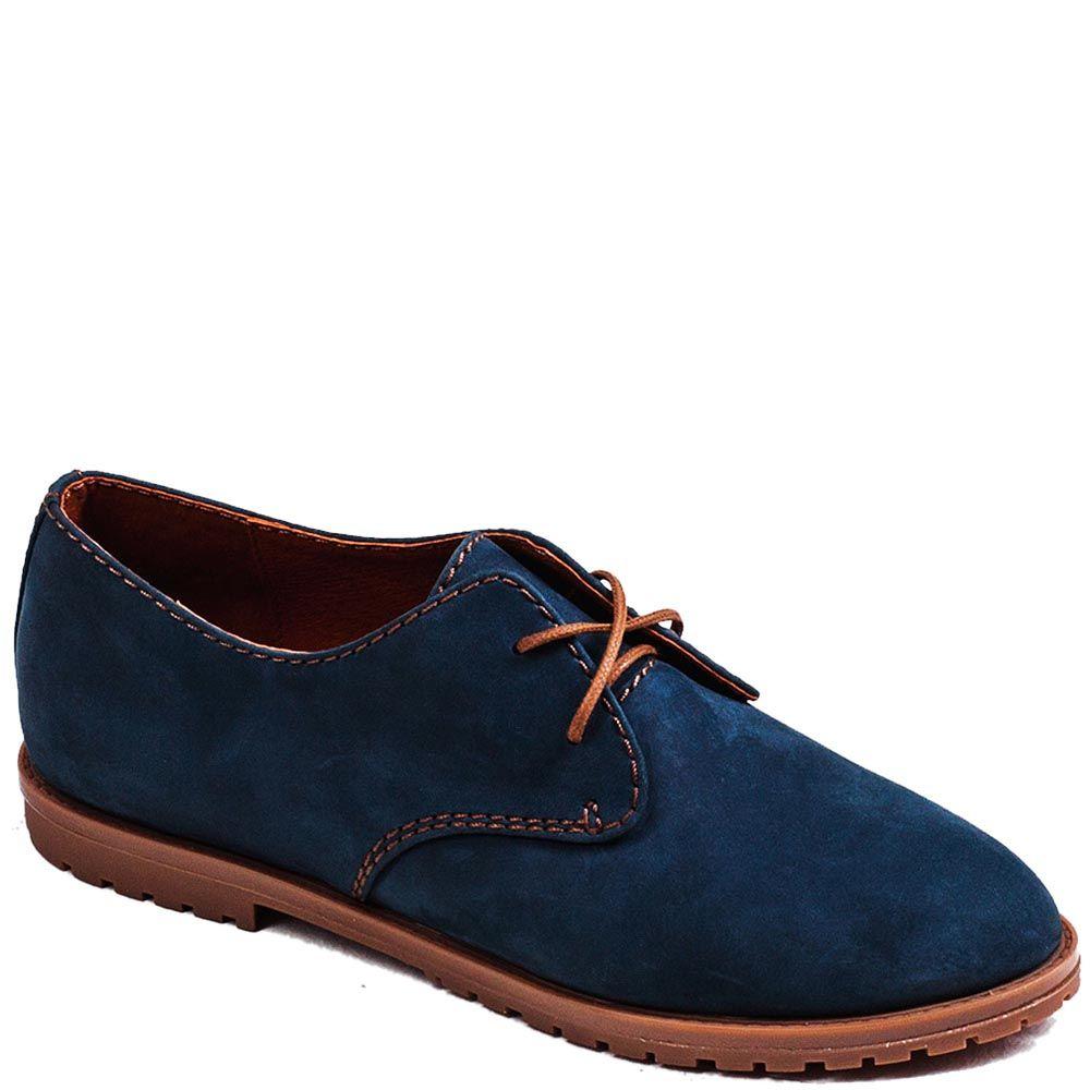 Женские туфли Modus Vivendi из нубука синего цвета на низком ходу