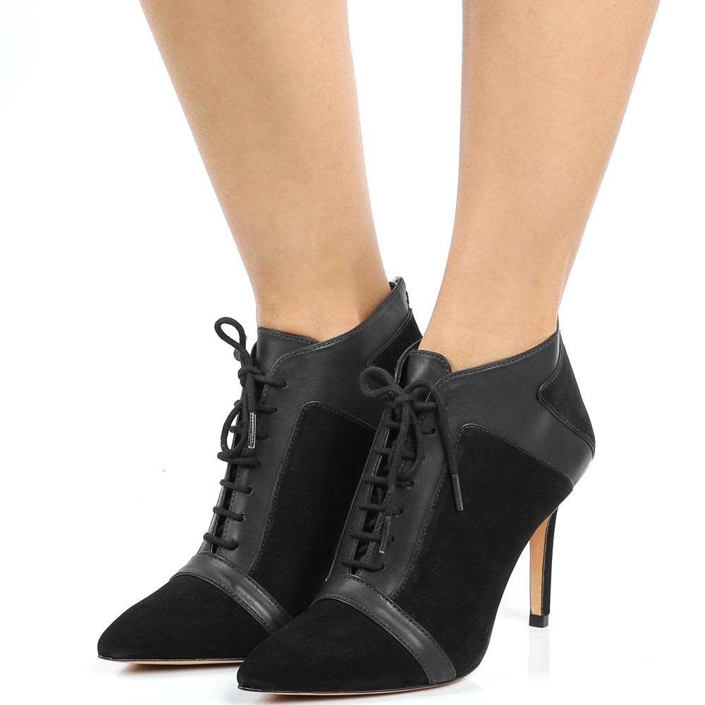 Ботильоны черного цвета на шнуровке Vicenza из нубука с кожаными вставками