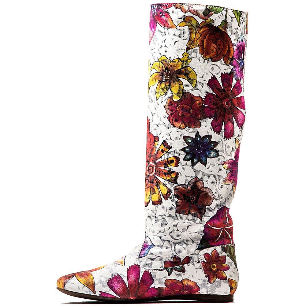 Перфорированные сапоги Modus Vivendi с разноцветным цветочным принтом