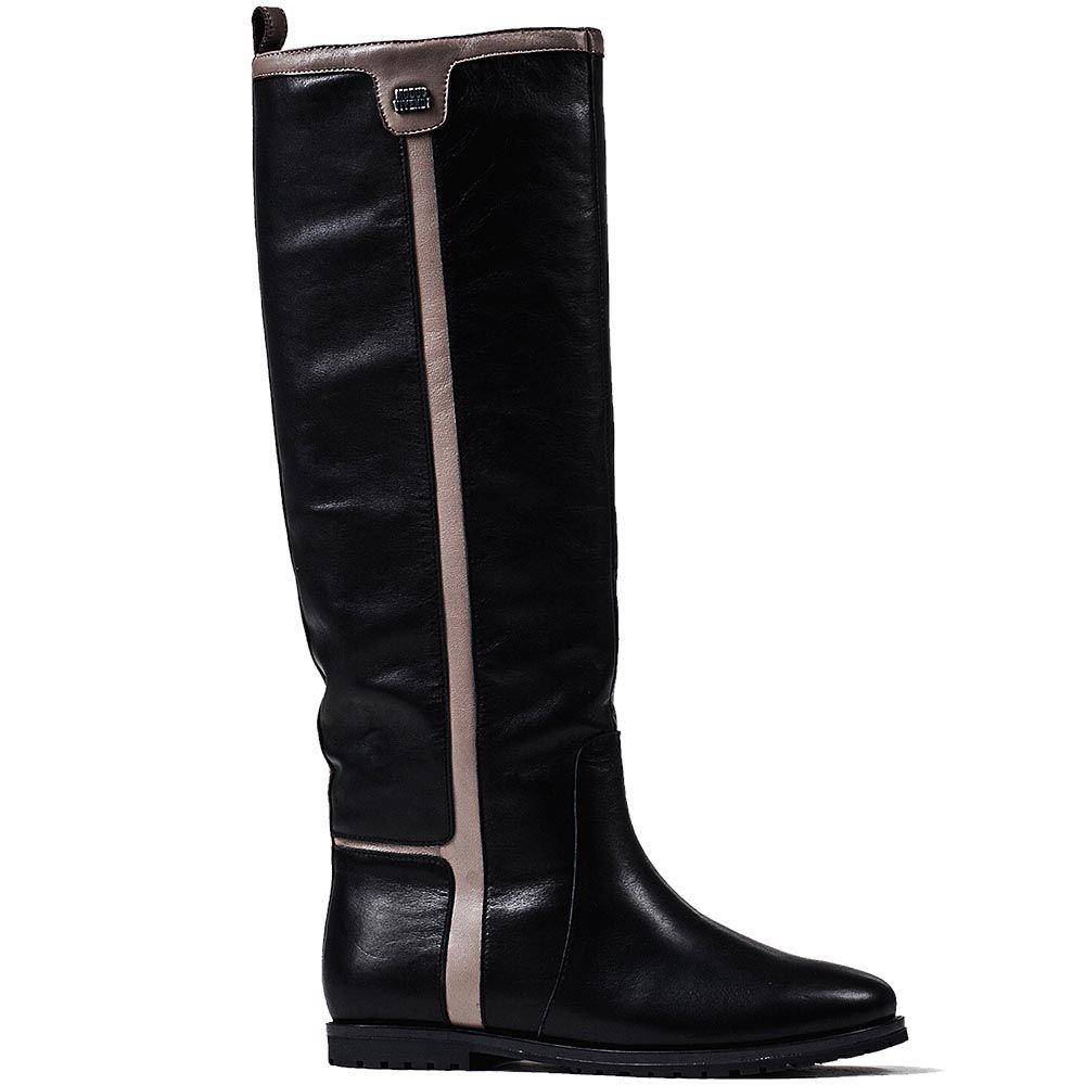 Зимние сапоги Modus Vivendi на низком ходу из кожи черного цвета с серыми лампасами