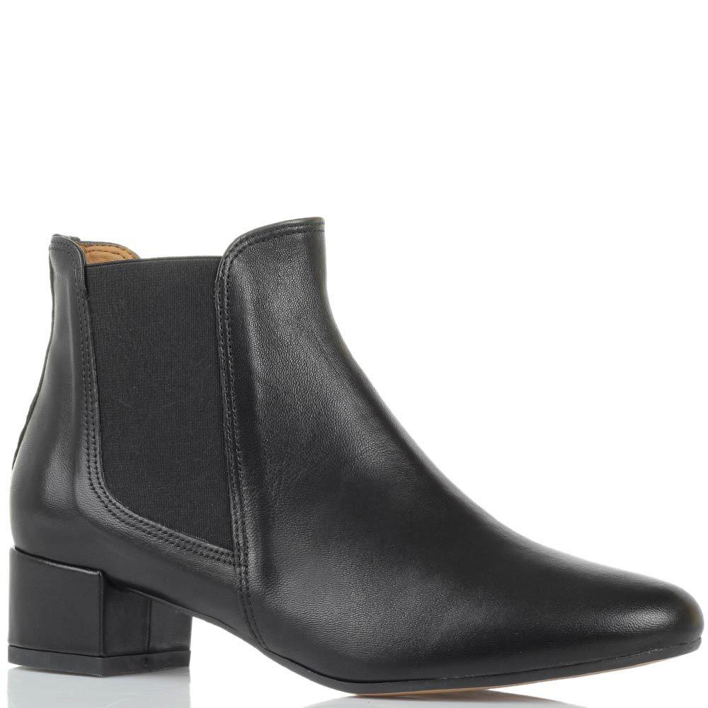 Ботинки кожаные черного цвета Bianca Di со вставками в виде резинок