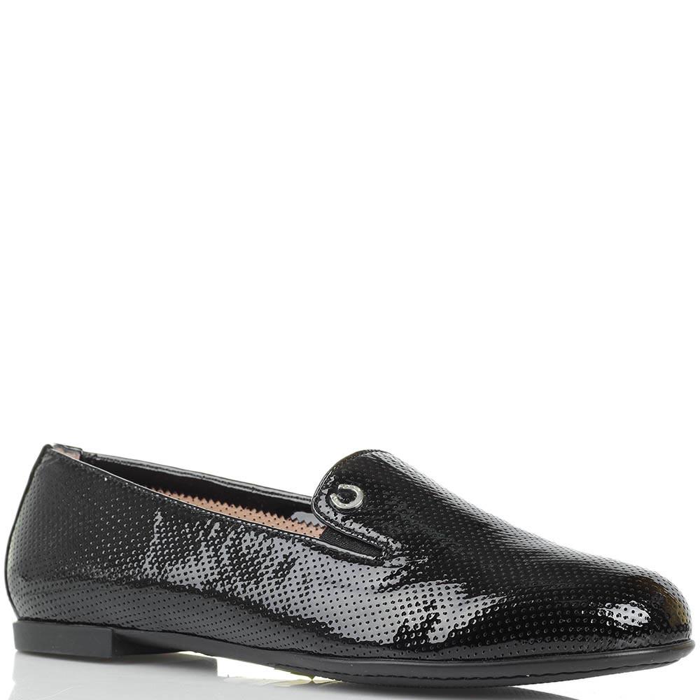 Туфли из лаковой кожи Pakerson черного цвета с перфорацией