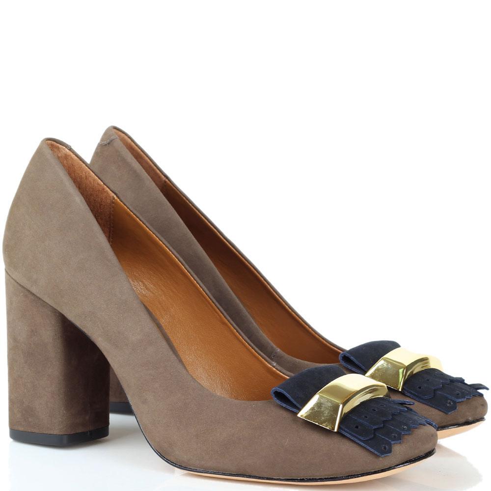Туфли из нубука коричневого цвета Vicenza с крупным декором и бахромой синего цвета