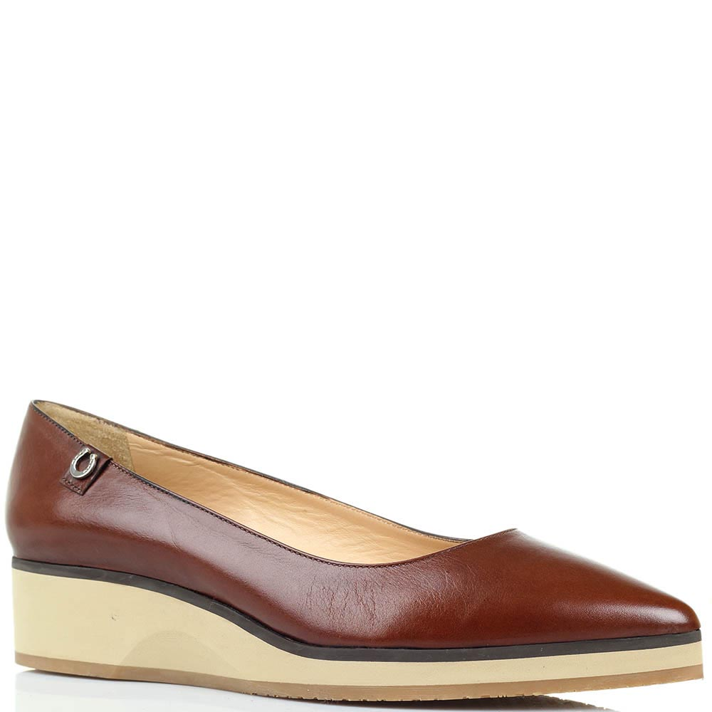 Кожаные туфли коричневого цвета Pakerson на танкетке