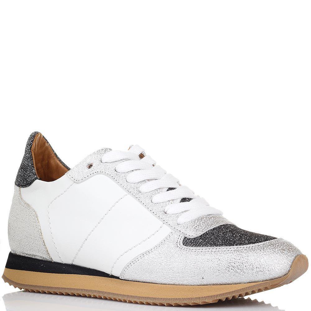 Серебристые кроссовки Via Roma 15 из натуральной кожи с текстильными вставками