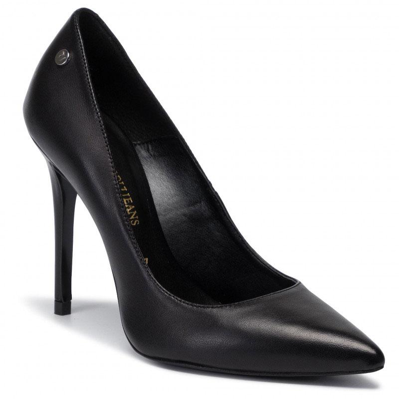 Черные туфли Trussardi Jeans на высоком каблуке