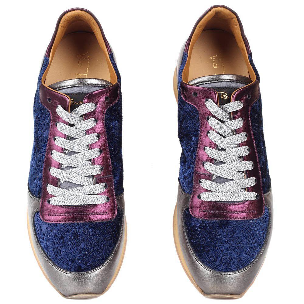 Кожаные кроссовки Via Roma 15 со вставками из велюра синего цвета