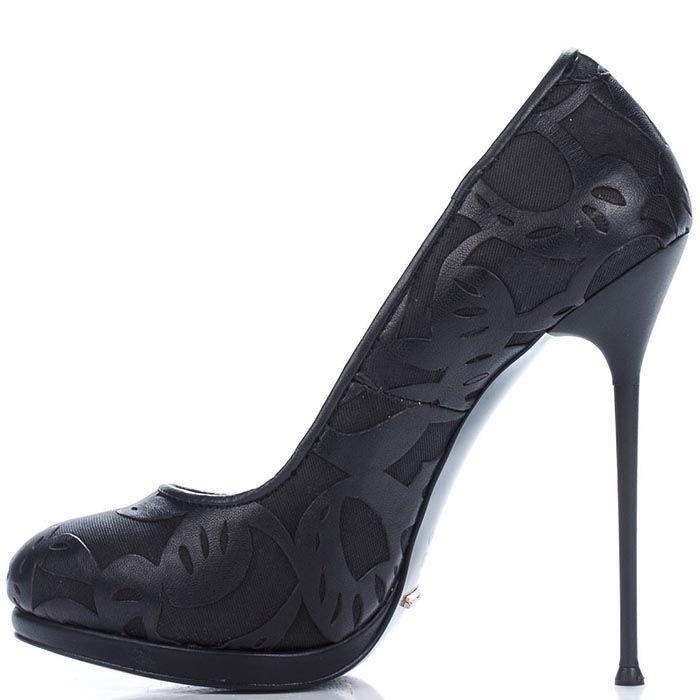 Туфли Modus Vivendi из натуральной кожи с резным узором на высокой шпильке