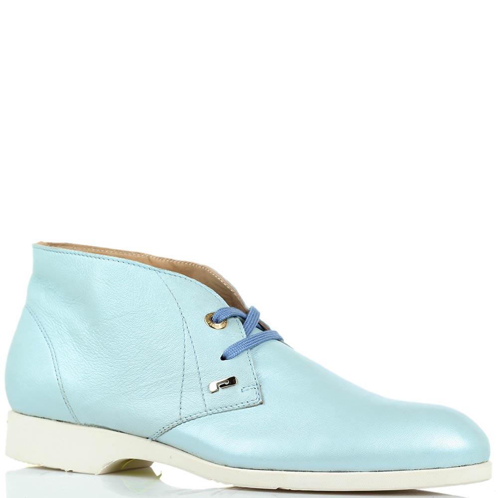 Женские кожаные ботинки-дезерты Pakerson голубого цвета с перламутровым отливом