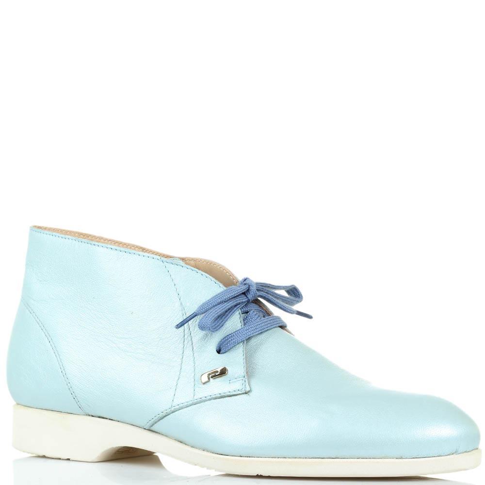 Кожаные туфли-дезерты голубого цвета Pakerson на шнуровке