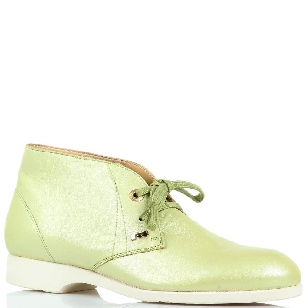 Кожаные туфли-дезерты Pakerson зеленого цвета с перламутровым блеском