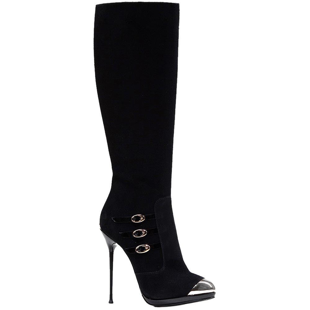 Замшевые демисезонные сапоги Modus Vivendi на шпильке с металлическим носком