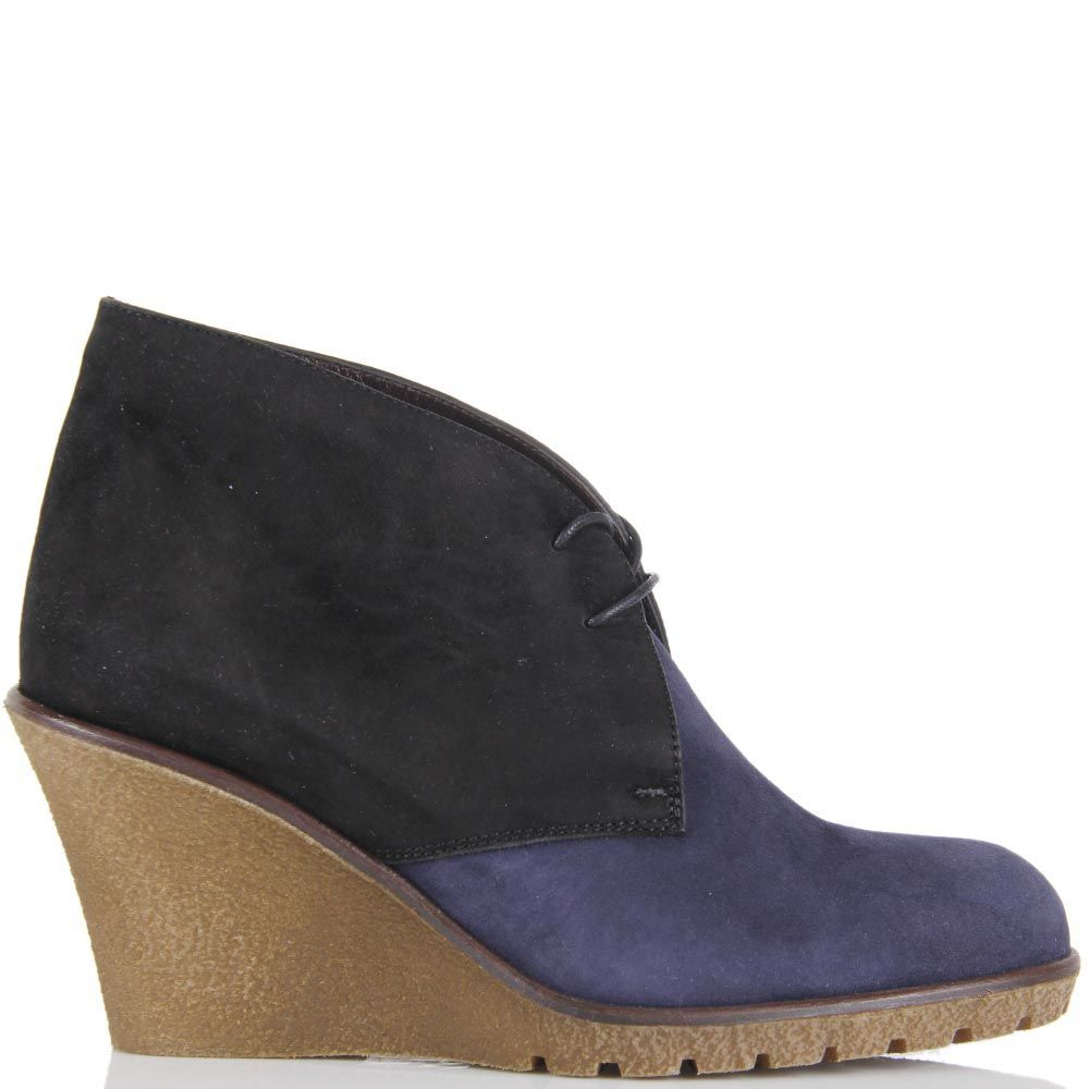 Замшевые ботинки Pakerson сине-черные на танкетке