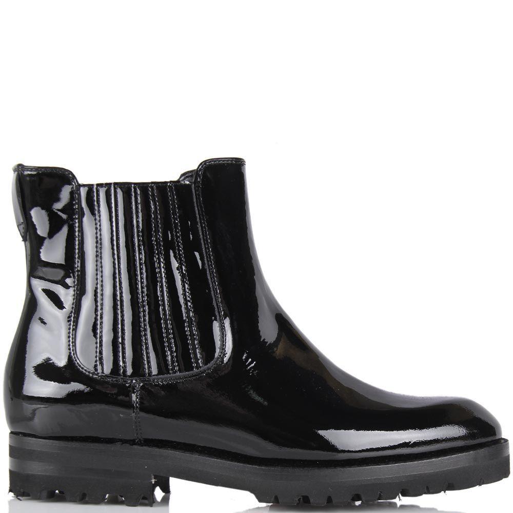 Женские ботинки Pakerson из натуральной лаковой кожи черного цвета со вставкой-резинкой