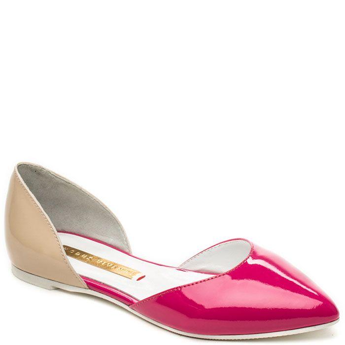 Открытые туфли Modus Vivendi из лаковой кожи бежевого и малинового цвета