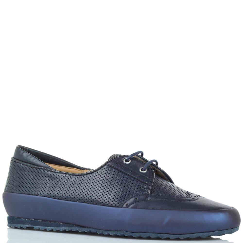 Туфли синего цвета Pakerson из перфорированной кожи