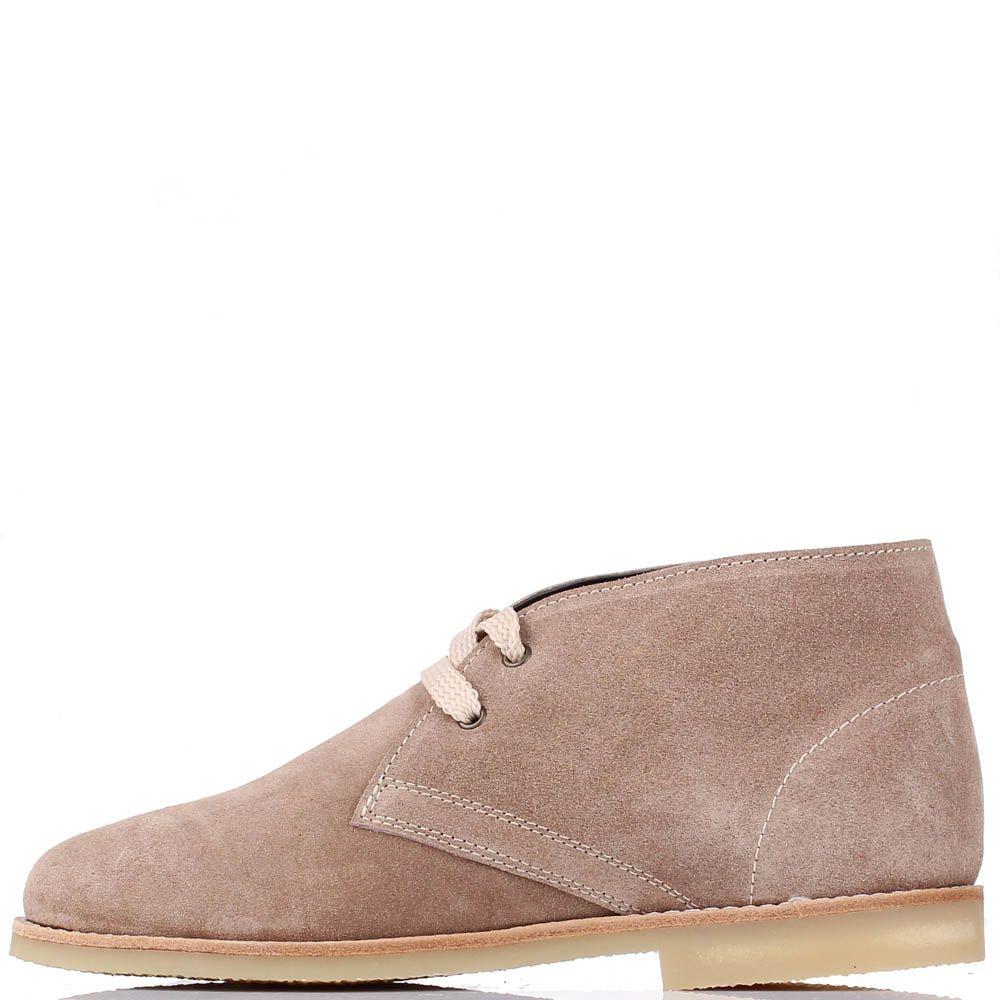 Замшевые ботинки J.J.Delacroix бежевого цвета на шнуровке