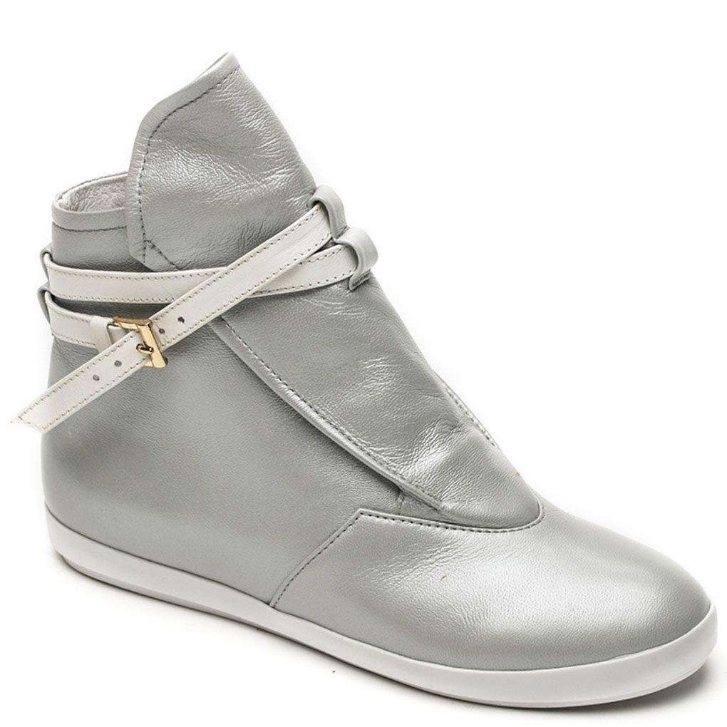Кожаные ботинки Modus Vivendi серебристого цвета на скрытой танкетке