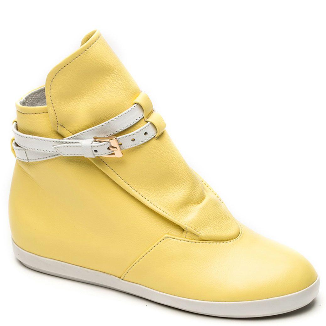 Кожаные ботинки Modus Vivendi светло-желтого цвета на скрытой танкетке