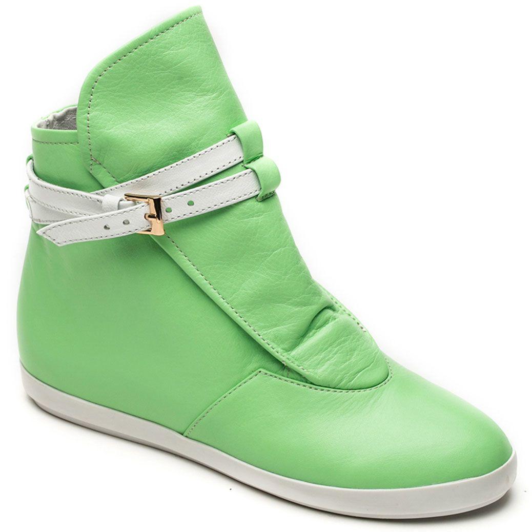 Кожаные ботинки Modus Vivendi салатового цвета на скрытой танкетке