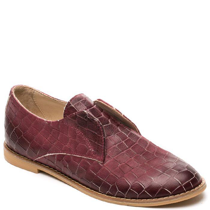 Женские туфли Modus Vivendi бордового цвета с имитацией кожи крокодила