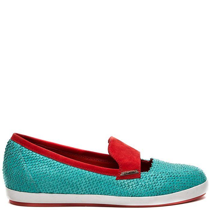 Туфли Modus Vivendi из сочетания фактурной голубой кожи и красного нубука