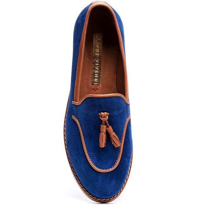 Замшевые лоферы синего цвета Modus Vivendi с коричневыми кожаными кисточками