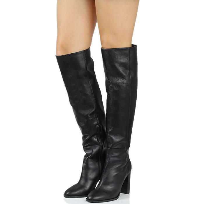 Кожаные сапоги-ботфорты черного цвета Bianca Di на устойчивом каблуке