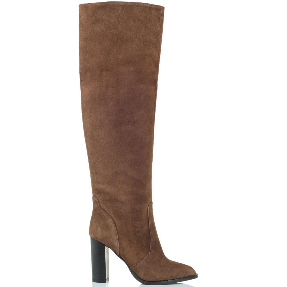 Высокие замшевые сапоги Bianca Di коричневого цвета на толстом каблуке