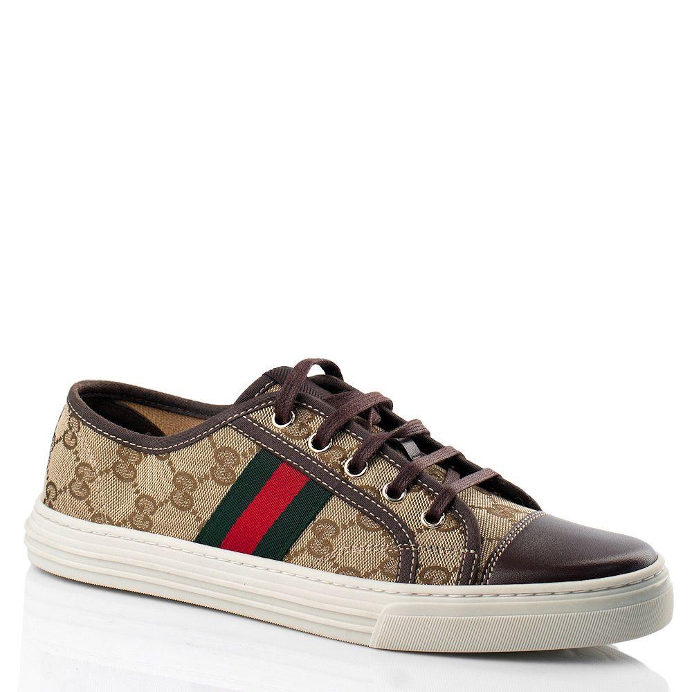 Кеды Gucci с фирменной расцветкой в сочетании кожи и текстиля