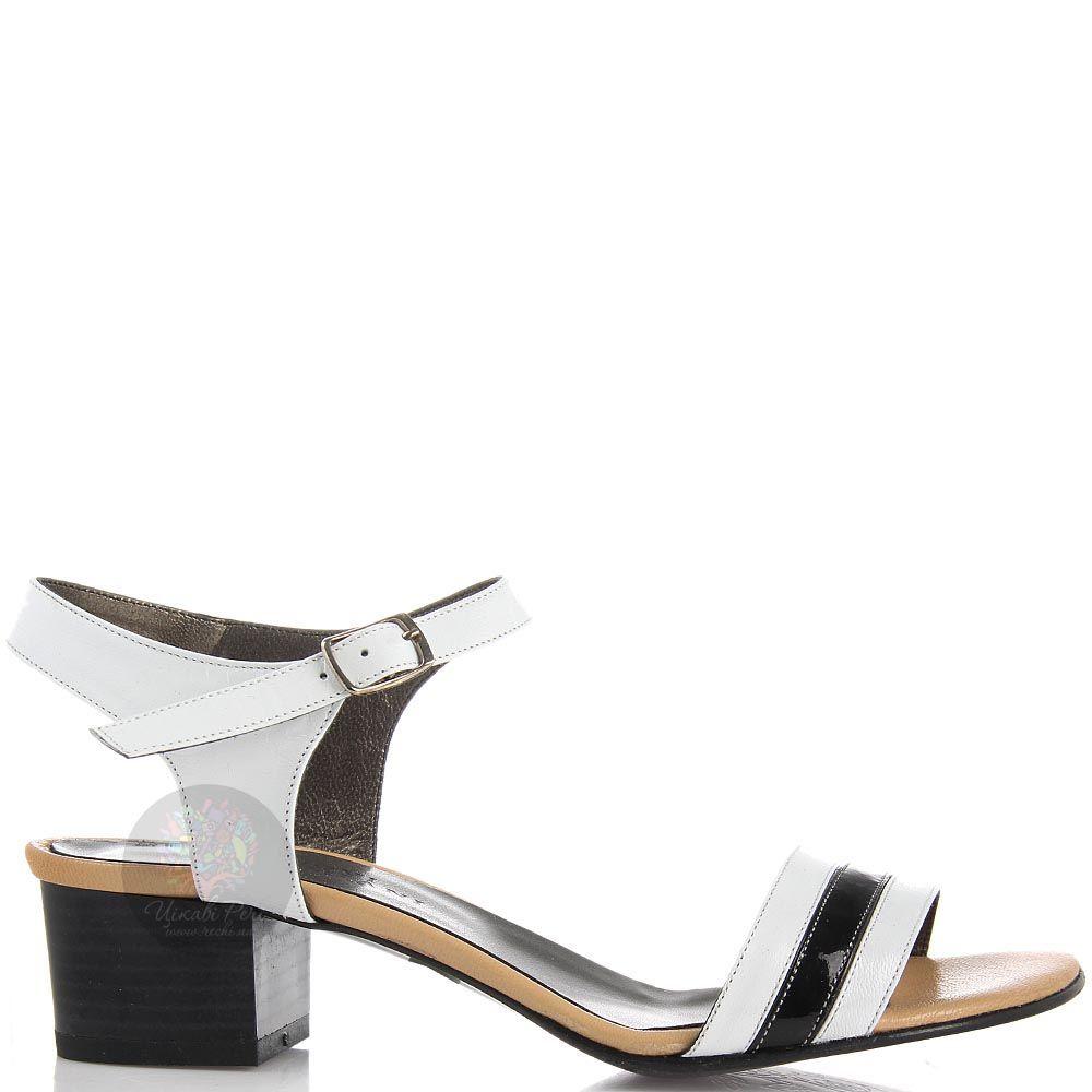 Кожаные босоножки Nuovi Artigiani белые с черной полоской на носочке