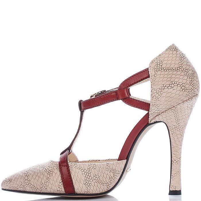 Открытые туфли Modus Vivendi бежевого цвета с бордовым декором