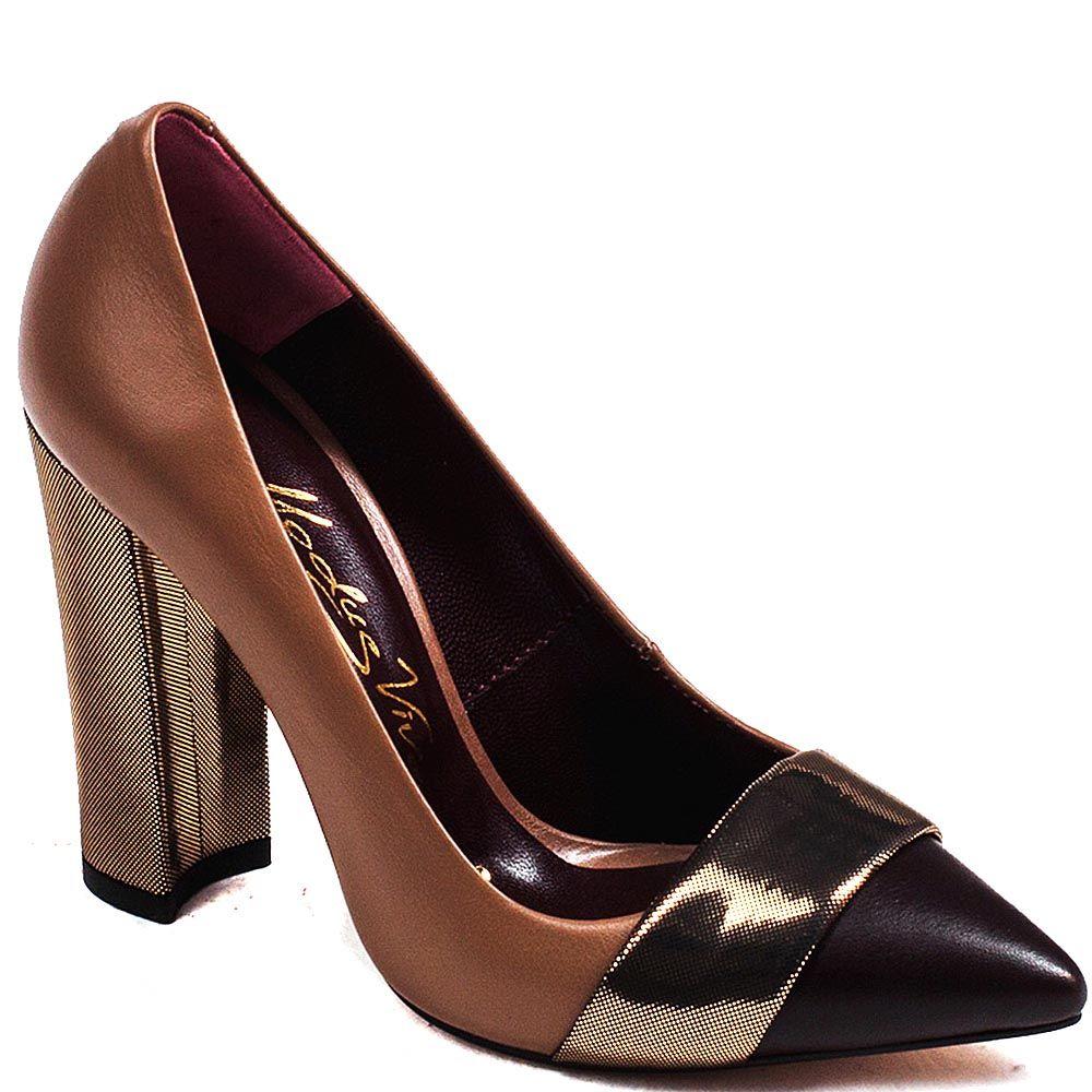 Женские туфли Modus Vivendi на устойчивом каблуке из сочетания кожи коричневого и черного цвета с отделкой из кожи с лазерной об