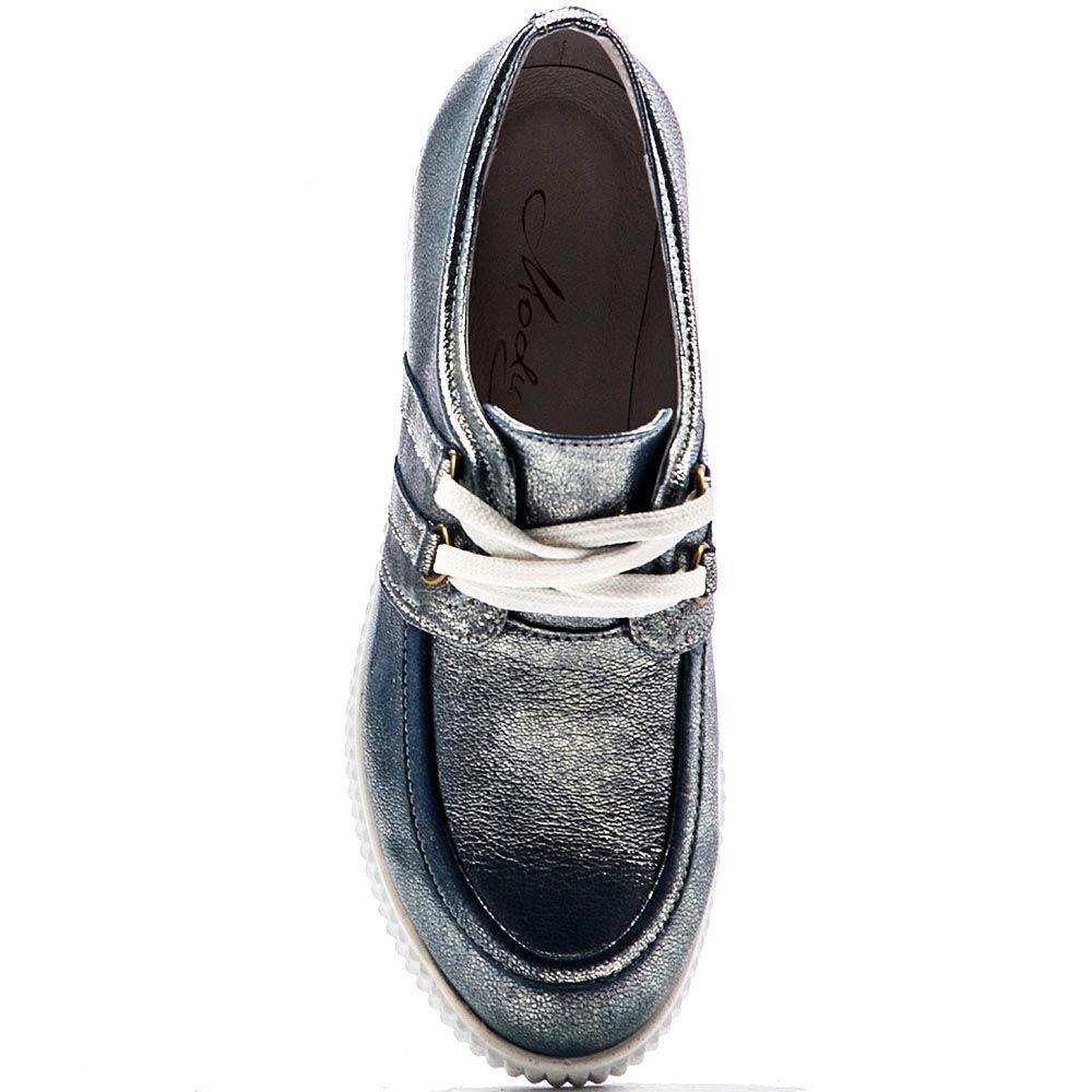 Кожаные слипоны Modus Vivendi серо-синего цвета с перламутром
