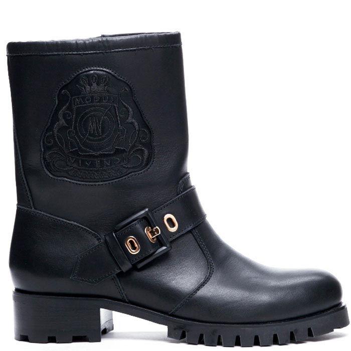 Ботинки из кожи черного цвета Modus Vivendi с вышитым логотипом