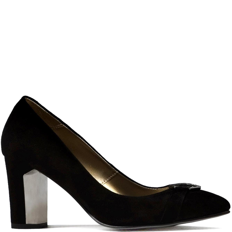 Туфли Modus Vivendi на среднем каблуке черного цвета замшевые