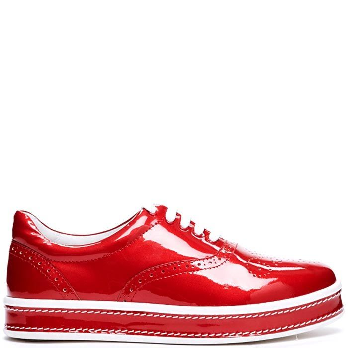 Броги красного цвета из лаковой кожи Modus Vivendi на шнуровке и толстой подошве