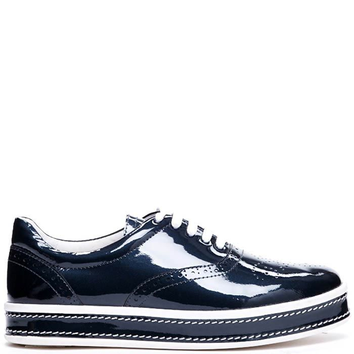 Туфли из лаковой кожи синего цвета Modus Vivendi на шнуровке и толстой подошве