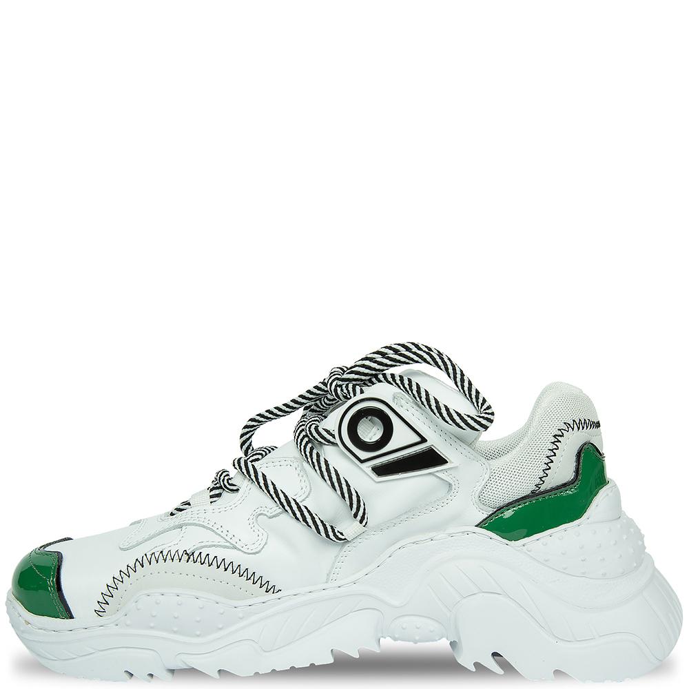 Белые кроссовки N21 с зелеными вставками