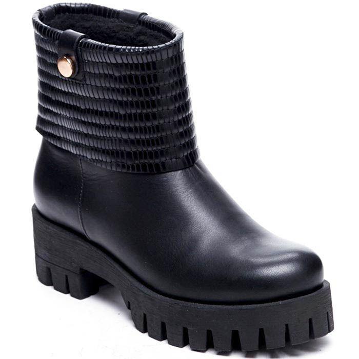 Кожаные ботинки черного цвета Modus Vivendi на толстой подошве и каблуке
