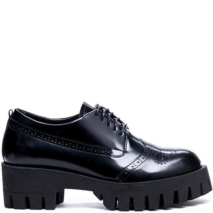 Кожаные туфли-броги черного цвета Modus Vivendi на рельефной подошве и каблуке
