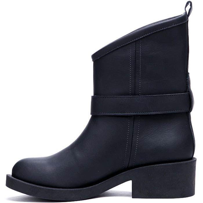 Ботинки из кожи черного цвета Modus Vivendi с декоративным ремешком