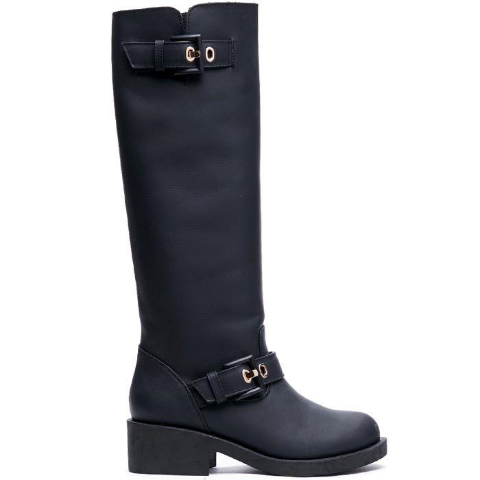 Сапоги кожаные черного цвета Modus Vivendi с декоративными ремешками