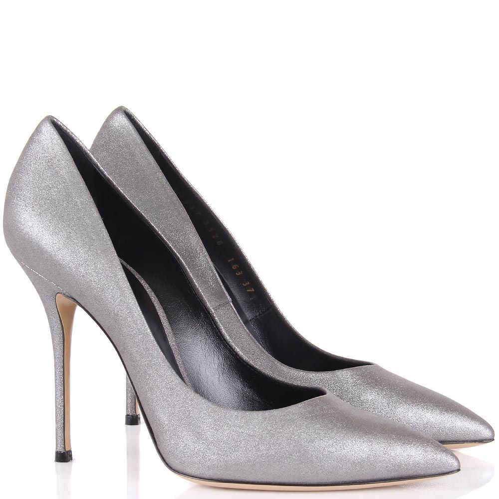Туфли-лодочки Casadei серебристые с блеском